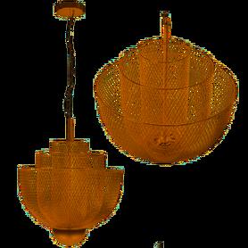 LAMPA SUFITOWA WISZĄCA AŻUROWA ROSE GOLD APP888-CP metal/ szkło klosz LOFT druciak G9