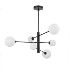 Lampa wisząca DORADO 6 czarna białe kule LOFT 6xG9 40W Light Prestige