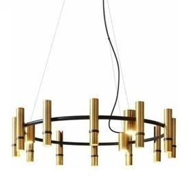 LAMPA wisząca Torch Ring Brass - 9 reflektorów - żyrandol 65cm złoty okrągły 9xG4